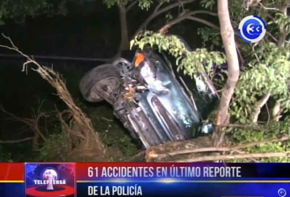 61 accidentes en último reporte de la Policía