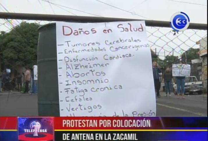 Protestan por colocación de antena en la Zacamil